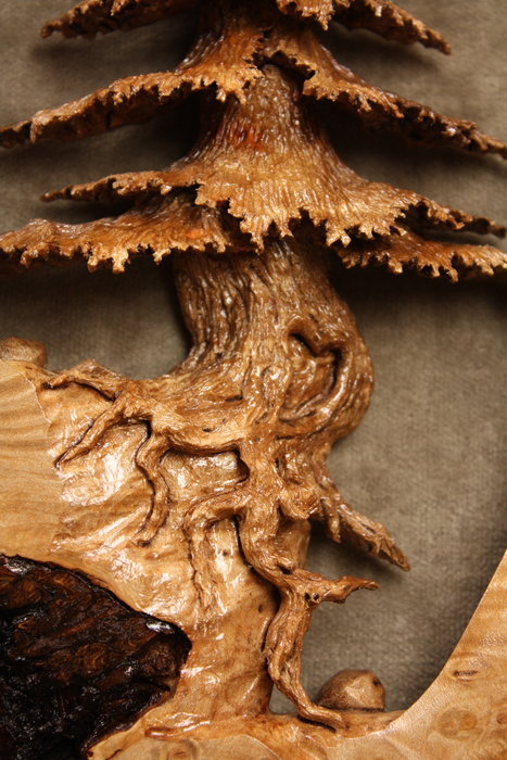Stand Alone Pine a Maple Burl Wood Carving by Gary Wiz