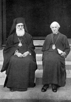 """""""Patriarhul"""" mason şi ecumenist Meletie Metaxakis alături de """"arhiepiscopul"""" anglican de Canterbury, Cosmo Gordon Lang"""