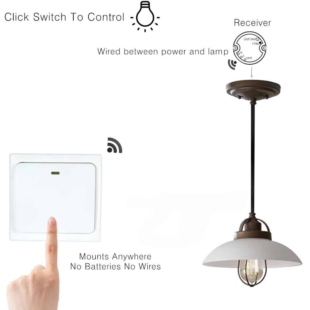 wireless light switch kit no battery wiring waterproof