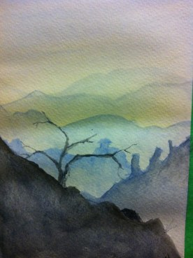 mountains watercolor