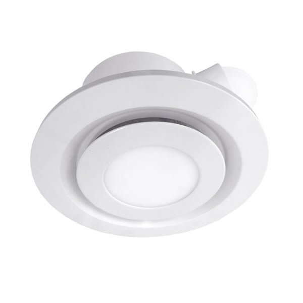 ventair airbus low profile exhaust fan with led light round 200mm white