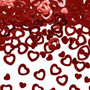 Røde hjerter bordkonfetti