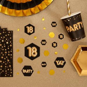 konfetti 18 år sort guld