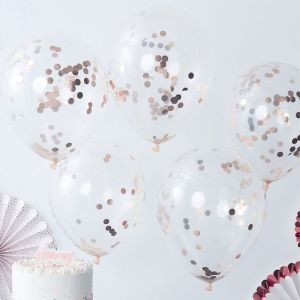 Balloner med rosaguld konfetti
