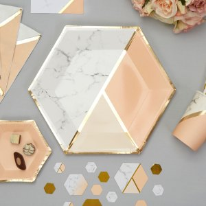 Peach / guld tallerken color block marble