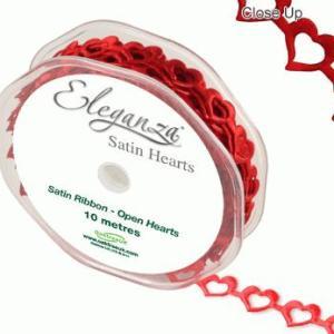 Satin bånd med hjerter