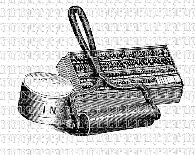 Antique Printing Kit Roller, Ink and Letter Stamps
