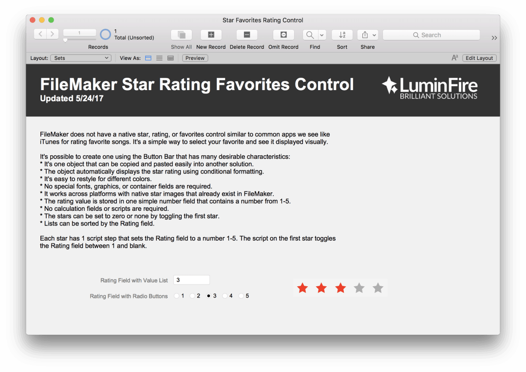 FileMaker Star Rating and Favorite Control 1