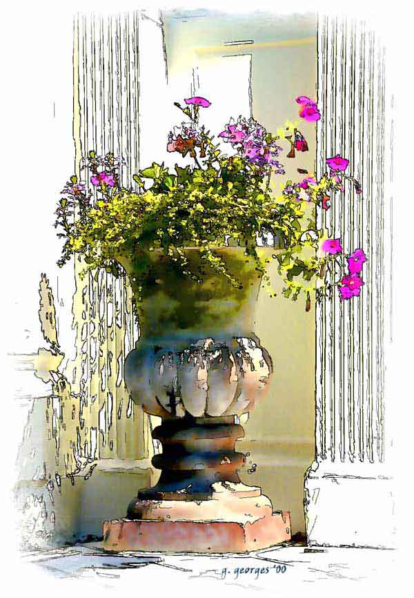 Watercolor Tea Cup Flower