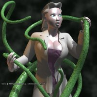 a lovely albino woman wearing a long coat and corset grapples with long, green tentacles.