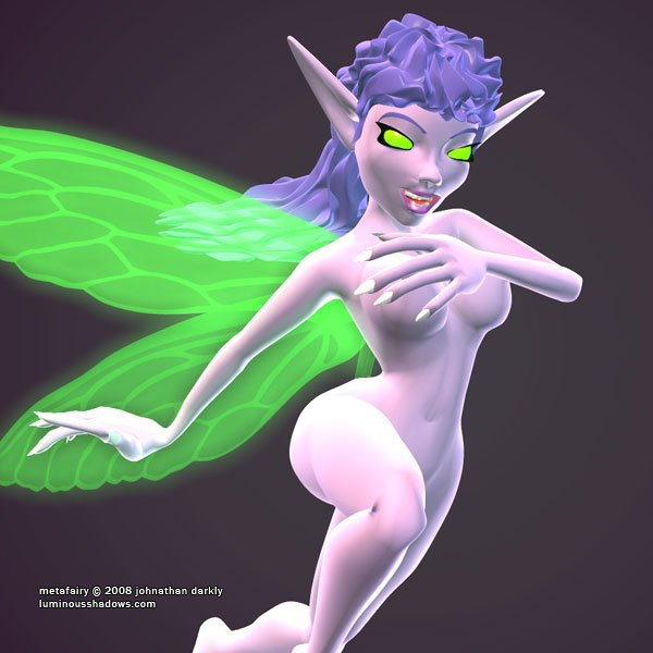 a naked, blue-skinned fairy with a maniacal expression flies on translucent green wings.