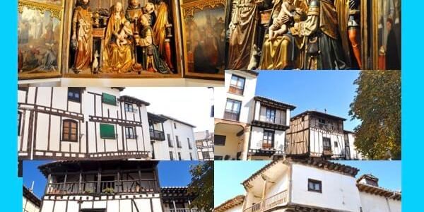 Covarrubias de calles porticadas y casas con entramados de madera