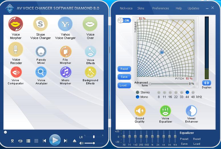 Главное окно программы AV Voice Changer Diamond