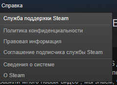 Переход к службе поддержки Steam