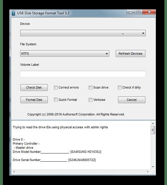 Interface de ferramenta de formato de armazenamento de disco HP USB