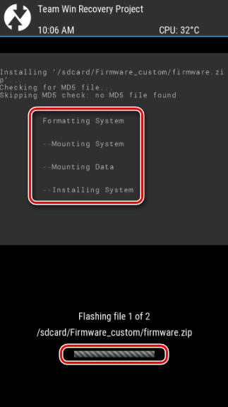 Firmware do progresso do TWRP.