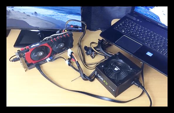 Bộ nguồn được trang bị đầu nối cần thiết để kết nối thẻ video ngoài với máy tính xách tay