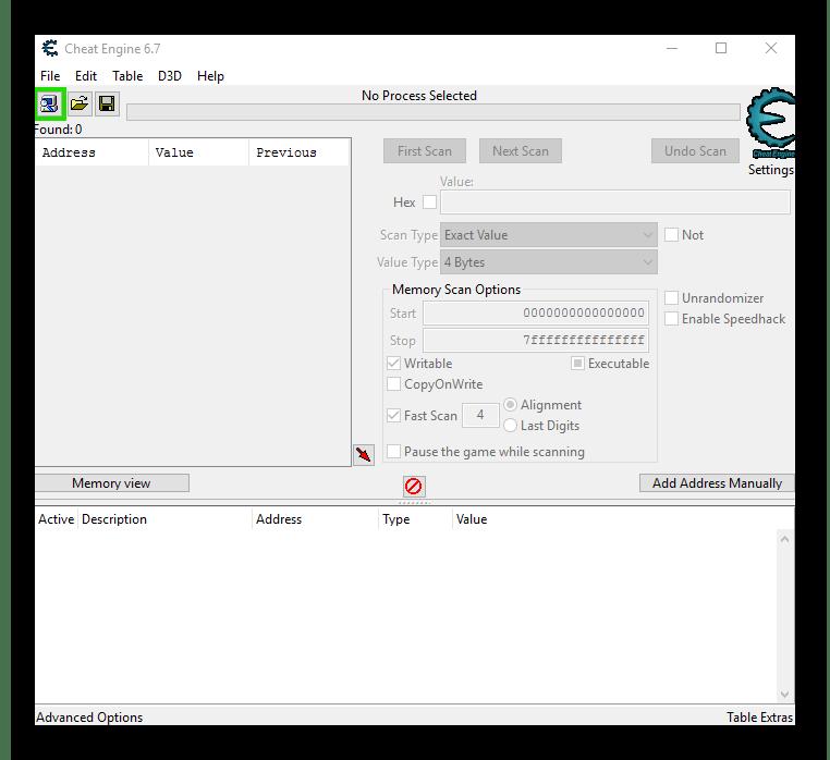 Fő ablak CheatGengine program