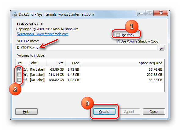 Virtual kiintolevyn käyttäminen VHD-muodossa Disk2VHD-ohjelmassa
