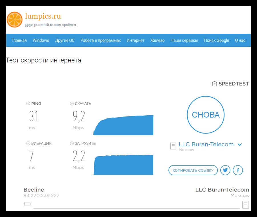 Тестирование скорости интернета и пинга на сайте Lumpics.ru