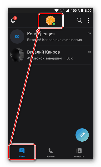 Skype мобильді қосымшасындағы Пайдаланушы профилінің ақпаратының бөлімін ашыңыз
