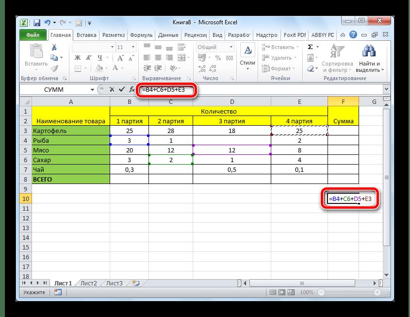Zelfintreding van de formule voor het tellen van het bedrag in Microsoft Excel