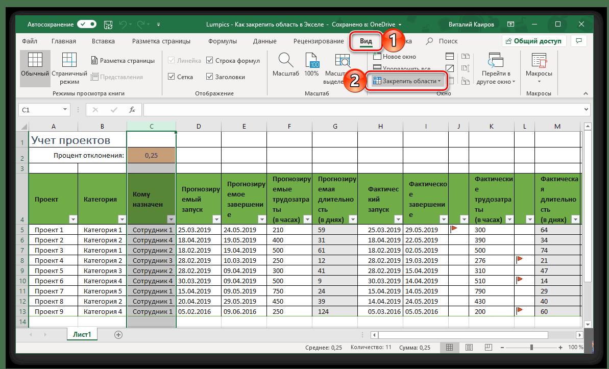 Gå till Securing Area från kolumner i Tabell Microsoft Excel