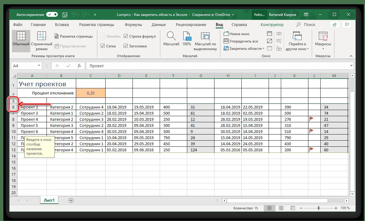 Ett exempel på ett framgångsrikt tilldelning av raderna i Microsoft Excel-tabellen