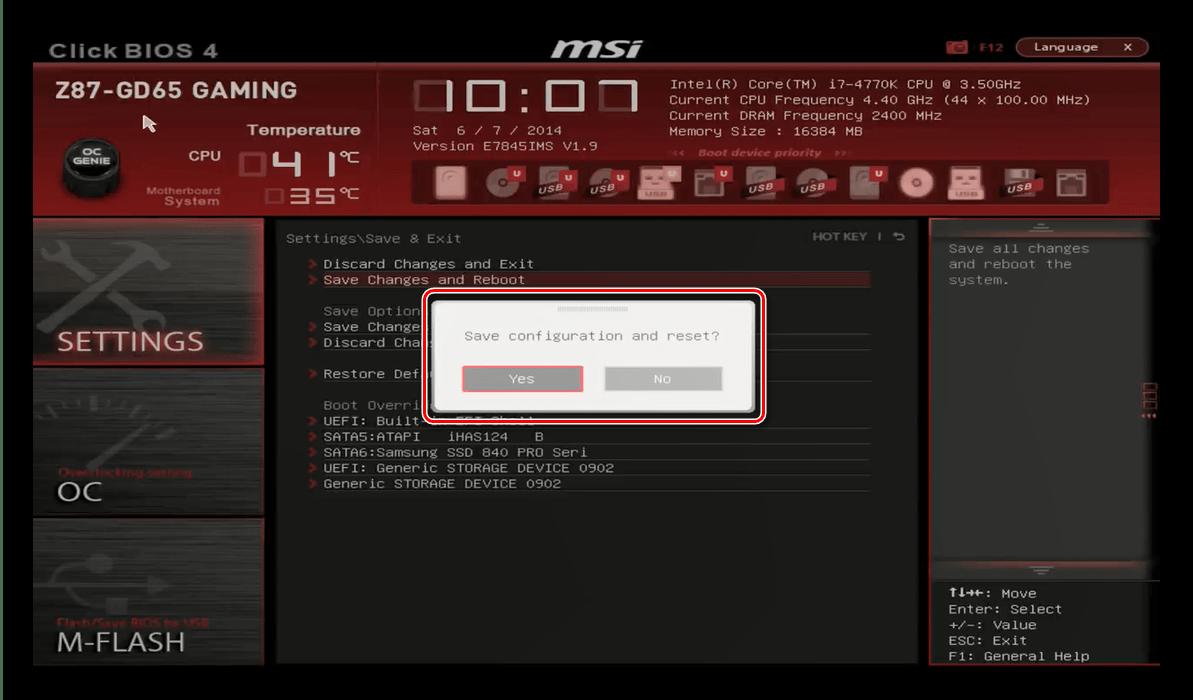 Uložte nastavení a ukončete MSI BIOS k přetaktování procesoru