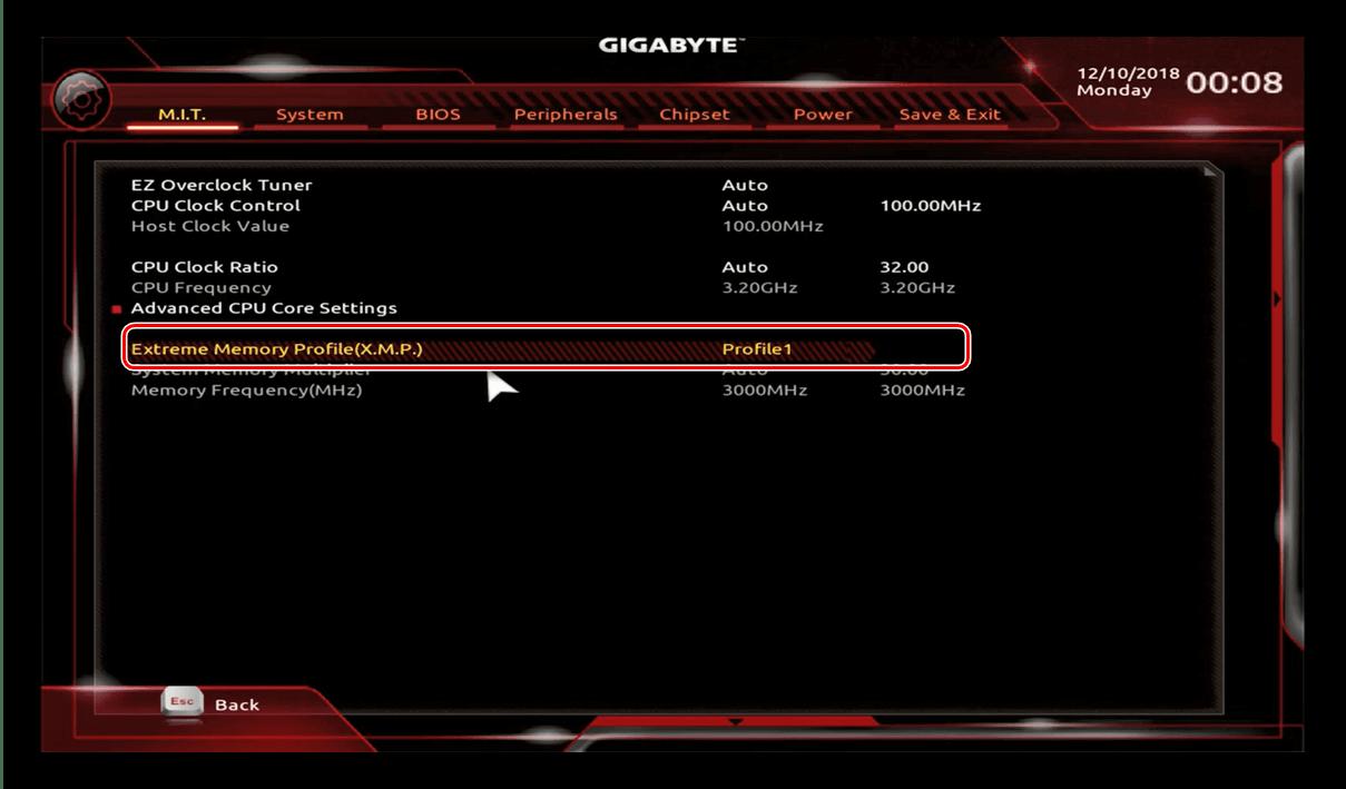 Povolte vlastní profil v systému GIGABYTE BIOS pro přetaktování procesoru
