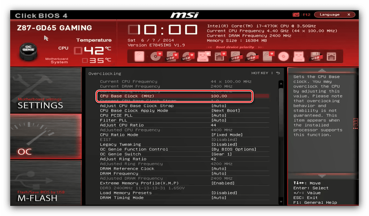 Indstil basisur i MSI BIOS til CPU-overclocking