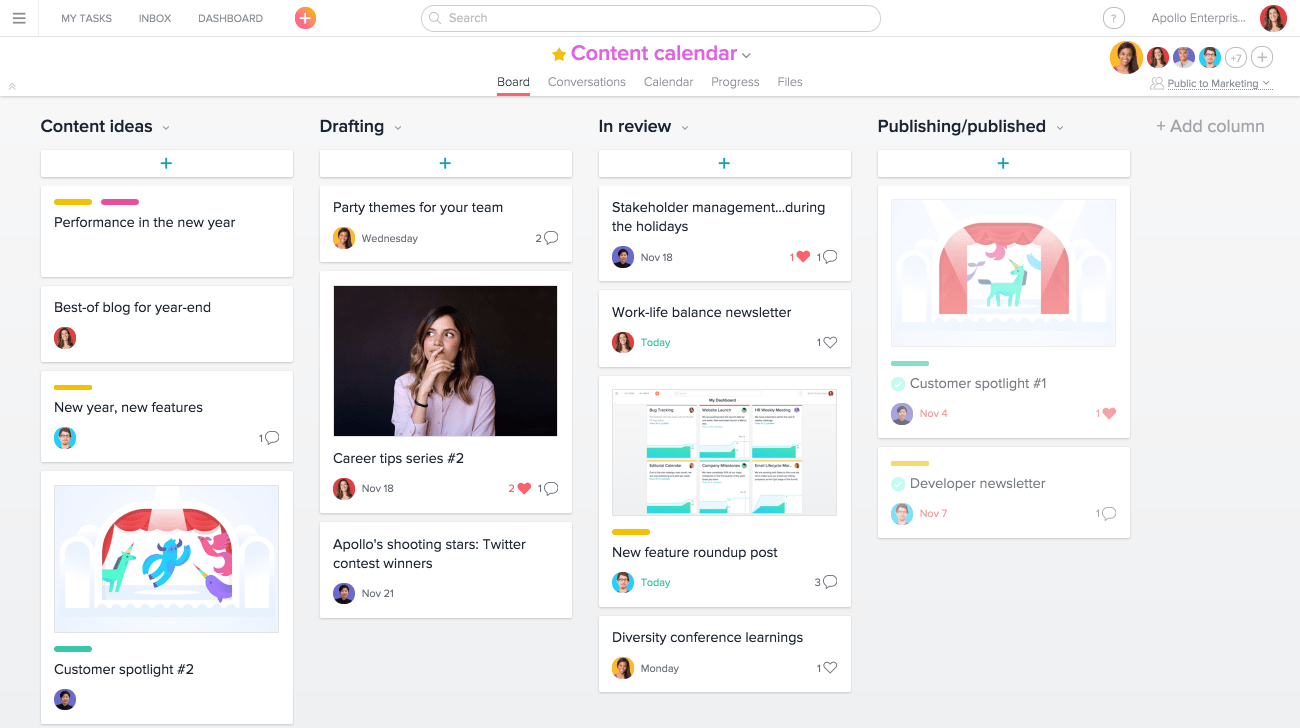 An Editorial Calendar Pipeline Built Out On Asana With Boards