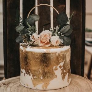 Bohemian wedding floral cake topper