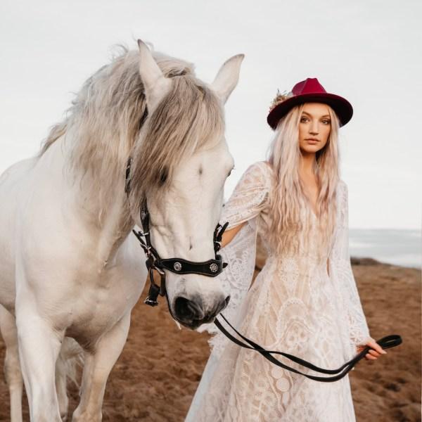 Luna and wild Fawn Dried Flower Wedding Fedora Hat