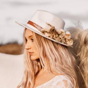 Luna and Wild Coco dried flower bridal fedora hat