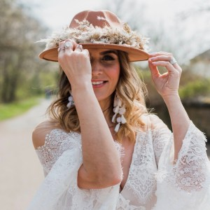 Lena Tan Dried Flower Bridal Fedora Stetson Hat
