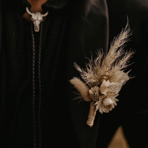 Boho Dried Flower Wedding Button Hole
