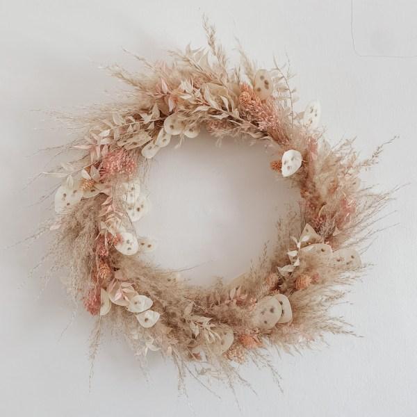 Lunaria and Pampas Grass Dried Flower Boho Wreath