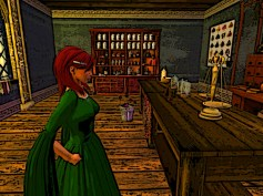 Red hair in herbalist shop