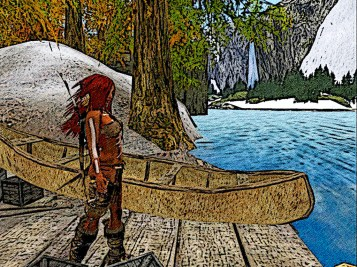 Red hair pulls her Canoe onto the small wooden docks