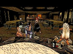 Dancing pit inside the tavern