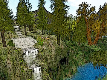 The lands are rich with cascading waterfalls