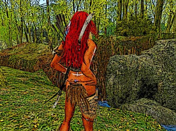 The forest is dense, she hacks her way through with her sleen knife