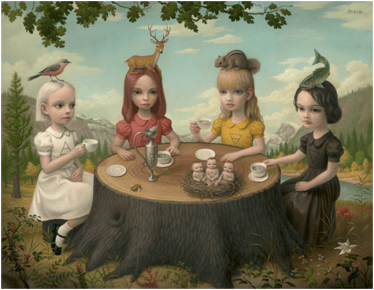 Dolly makeup, a plain dress with a peter-pan collared shirt underneath (easy to find), and a toy (head placement optional) and you've become a Mark Ryden painting or a creepy BJD doll.