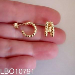 Aros bañado en oro Argolla bolitas doble de 12mm LBO10791