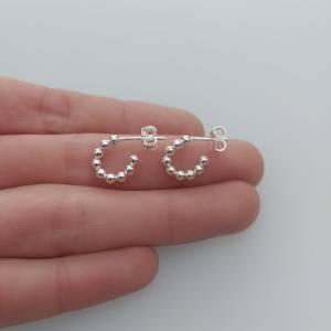 Aros bañados en plata  de 11mm argollas de pelotitas  LBO10832
