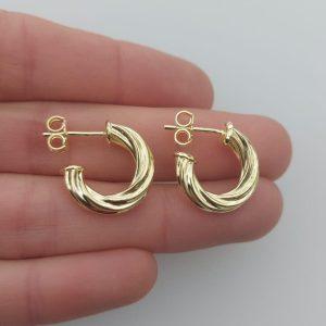 Aros bañado en oro de 18mm Argolla Espiral Tubo 4mm LBO11014