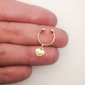 Aro bañado en oro de 22mm Piercing falso Corazón 1 unidad LBO11110