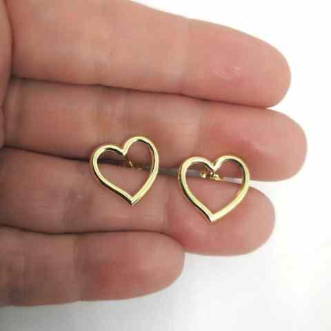 Aro bañado en oro de 15mm Corazón LBO11266
