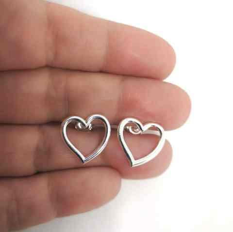 Aro bañado en plata de 15mm Corazón LBO11267